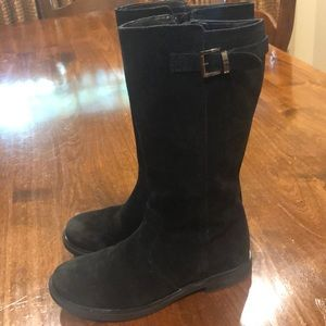Girls black suede boots. Size 3. Lands End brand